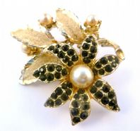 Vintage Black Rhinestone Flower And Pearl Brooch By Hollywood